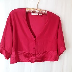 Vtg Silk Victorias secret Cropped Top Red buttons